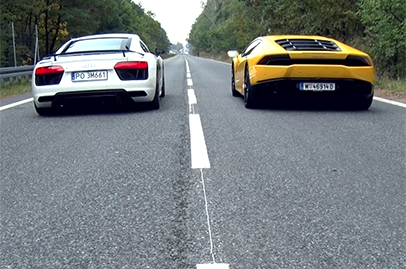 Audi R8 V10 Plus goes head on with Lamborghini Huracan in a drag race