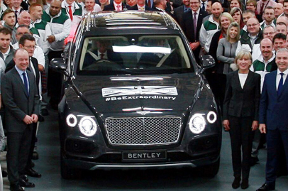 Very first production of the Bentley Bentayga rolls off the production line