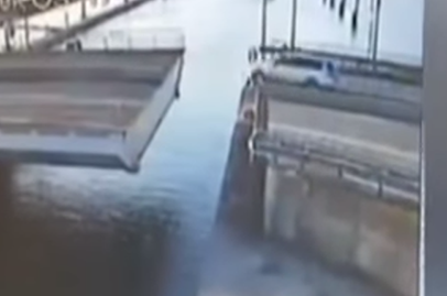 56-year old driver survives Hollywood-style bridge jump accident