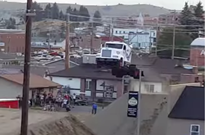 New record for semi-truck jump
