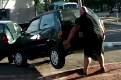 Real life hero lifts car off crosswalk