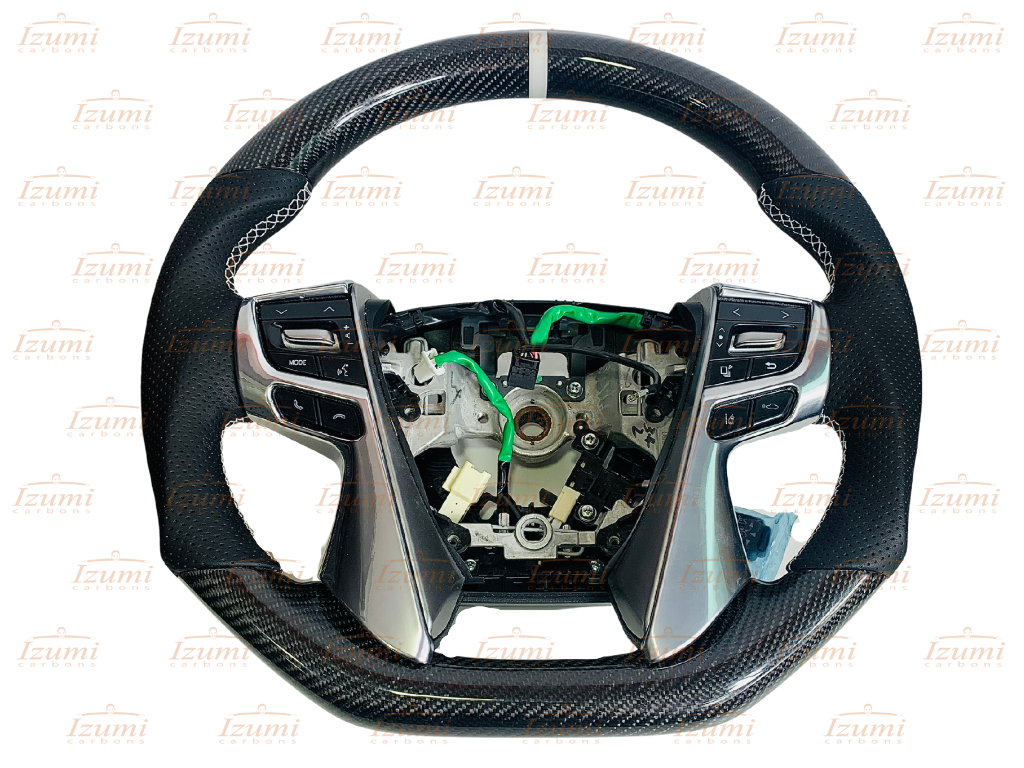 Izumi Carbons Toyota Vellfire and Alphard 2015 - 2020 Carbon Fibre Steering Wheel (White Ring)