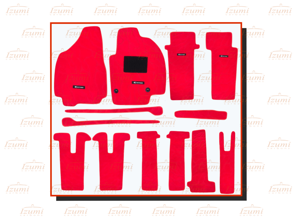 Izumi Carbons Toyota Estima Red Car Mat  (Polypropylene)