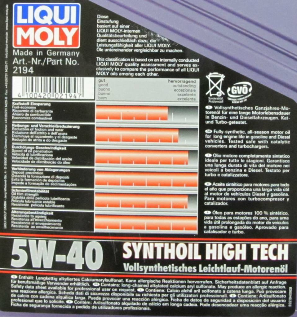 liqui moly synthoil high tech 5w 40 ser for sale mcf. Black Bedroom Furniture Sets. Home Design Ideas