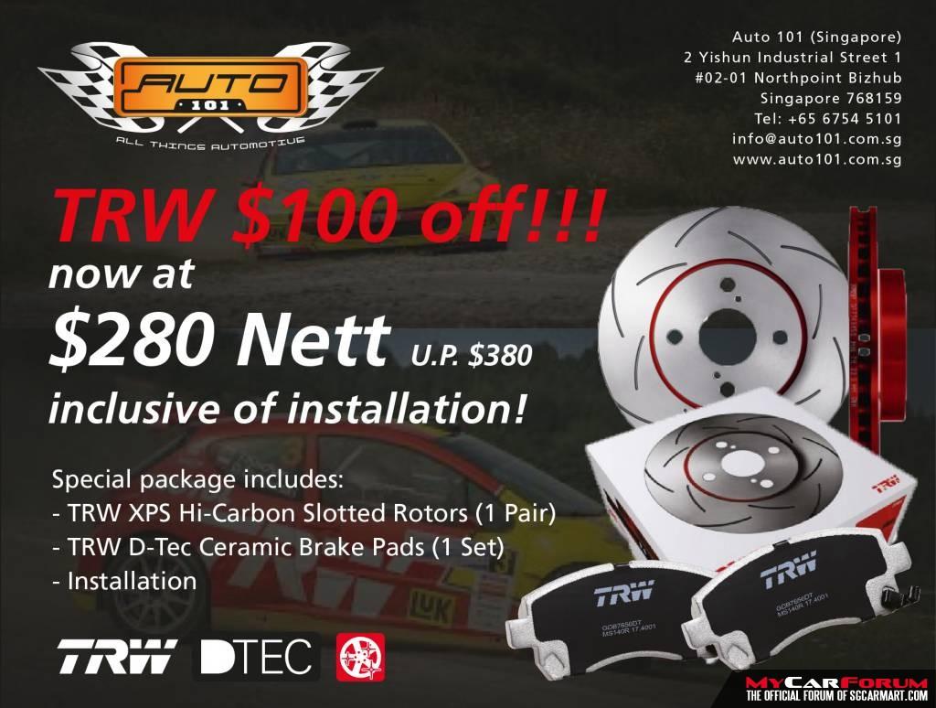 TRW XPS High Carbon Slotted Rotors Car Brake Kit With Ceramic Brake Pads For Subaru