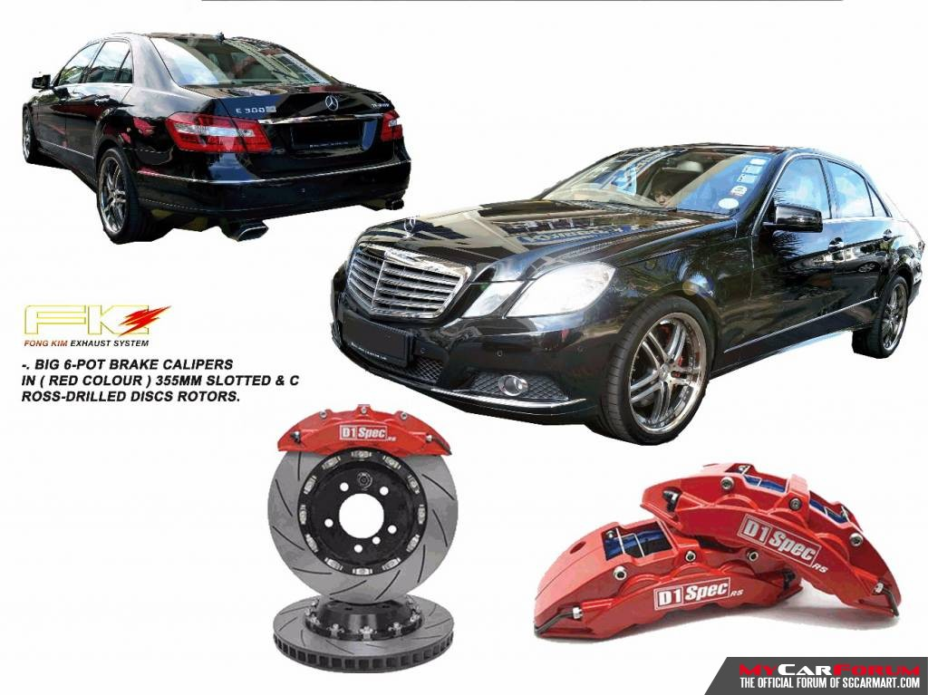 D1 Spec RS Series Big 6 Pot Mercedes-Benz E Class E300 Brake Kit System (With 355mm Disc Rotors)