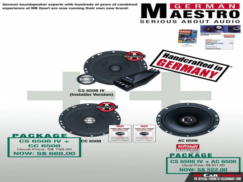 German Maestro CS6508 IV 2-Way Installer Component Speakers (With AC 6508 2-Way Coaxial System)