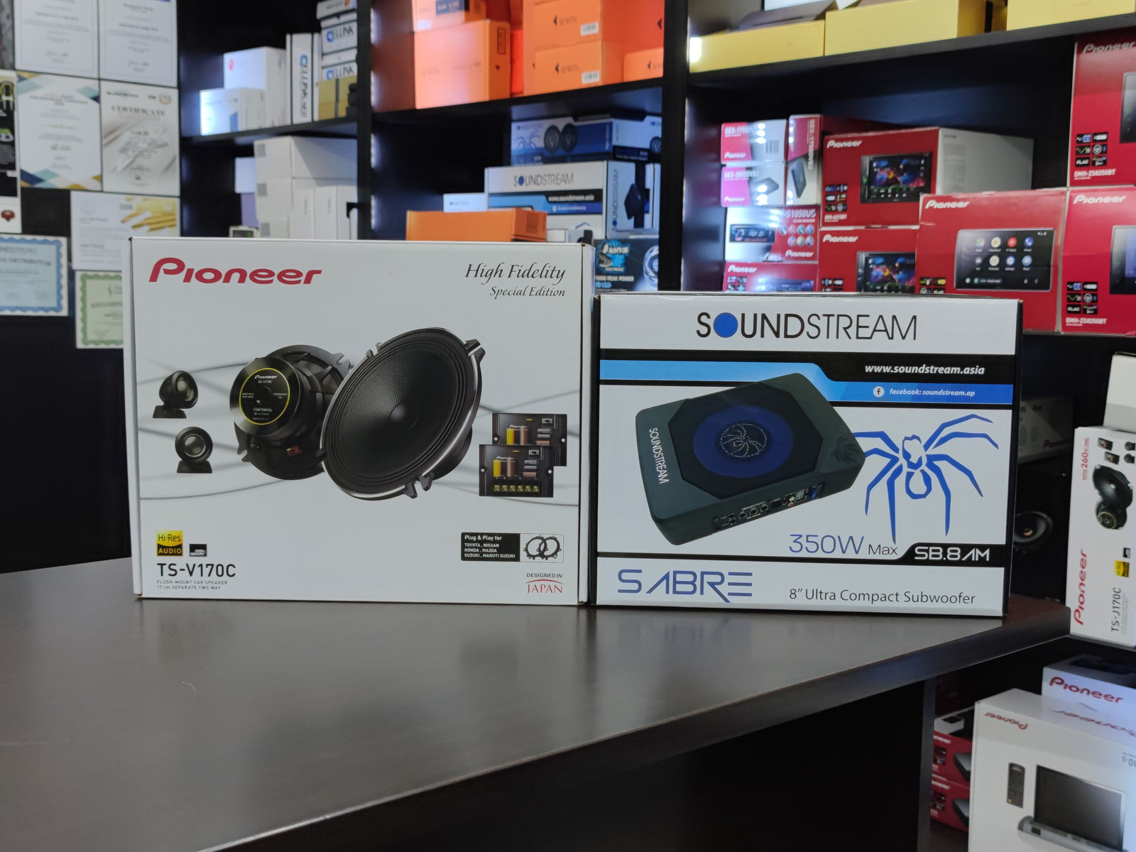Pioneer TS-V170C Component Speakers (With Soundstream SB.8AM 8″ Active Subwoofer)