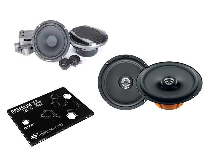 Hertz CPK 165 Component Speaker & DCX 165.3 Coaxial Speakers With CTK Premium Front Door Sound Damping